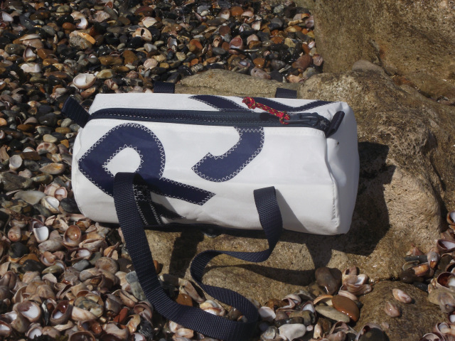 Personalised White Sailcloth Barrel Hand Bags
